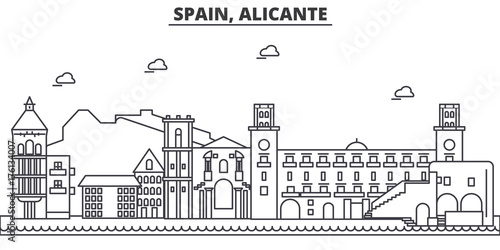 Obraz na plátne Spain, Alicante architecture line skyline illustration