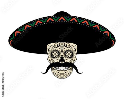 Fotografie, Obraz  Moustached Sugar skull in sombrero