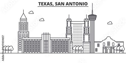 Texas San Antonio architecture line skyline illustration Canvas Print