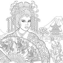 Coloring Page Of Geisha (japan...