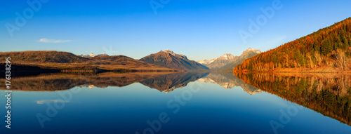 Printed kitchen splashbacks Reflection The mountains reflect over Lake MacDonald in Glacier National Park