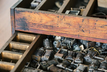 Close Up Of Old Wood Drawer Fi...