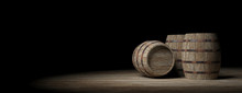 Wooden Barrels On Dark Background. 3d Illustration