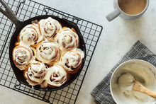 Iced Cinnamon Buns Or Rolls Ba...