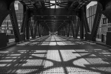 Old Steel Bridge In A City, Chicago