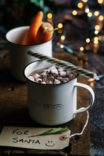 Christmas Hot Chocolate And Carrots For Santa And His Reindeer.