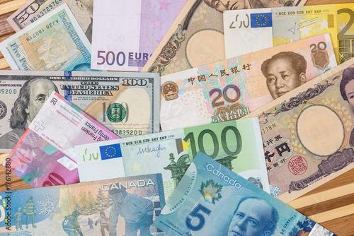 World Currency American Dollars European Euro Swiss Franc Chinese Yuan And An Yen