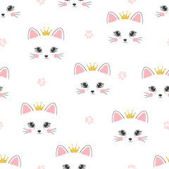 Fototapeta Seamless cat princess pattern. Vector background for kids.