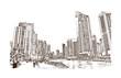 Hand drawn sketch of Marina Dubai in vector illustration.