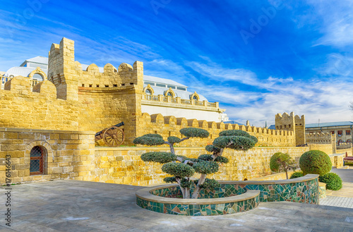 Wall in Baku's old town, a popular tourist destination and landmark, Baku, Azerbaijan Canvas Print