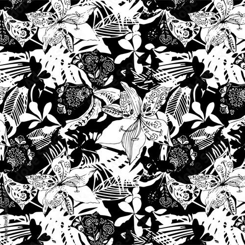 Zdjęcie XXL tapeta bezszwowe kwiatki