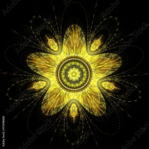 Plakat Złota fraktalna boże narodzenie gwiazda