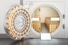 Open Bank Vault With Golden In...