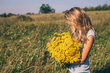 Woman Holding Big Bouquet Of Yellow Wildflowers