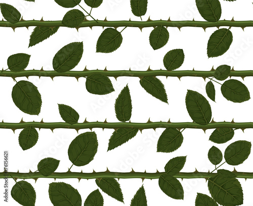 Seamless Pattern With Vector Watercolor Style Rose Flower Green Greenery Leaves Foliage On Stem With Thorns Hand Drawn Leaf Texture Decorative Natural Designer Wallpaper Cute Illustration Decoration Buy This Stock Vector