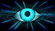 Big brother electronic eye concept, technologies for the global surveillance, security of computer systems and networks, well organized layers