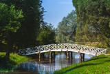 Summer landscape with old wooden bridge