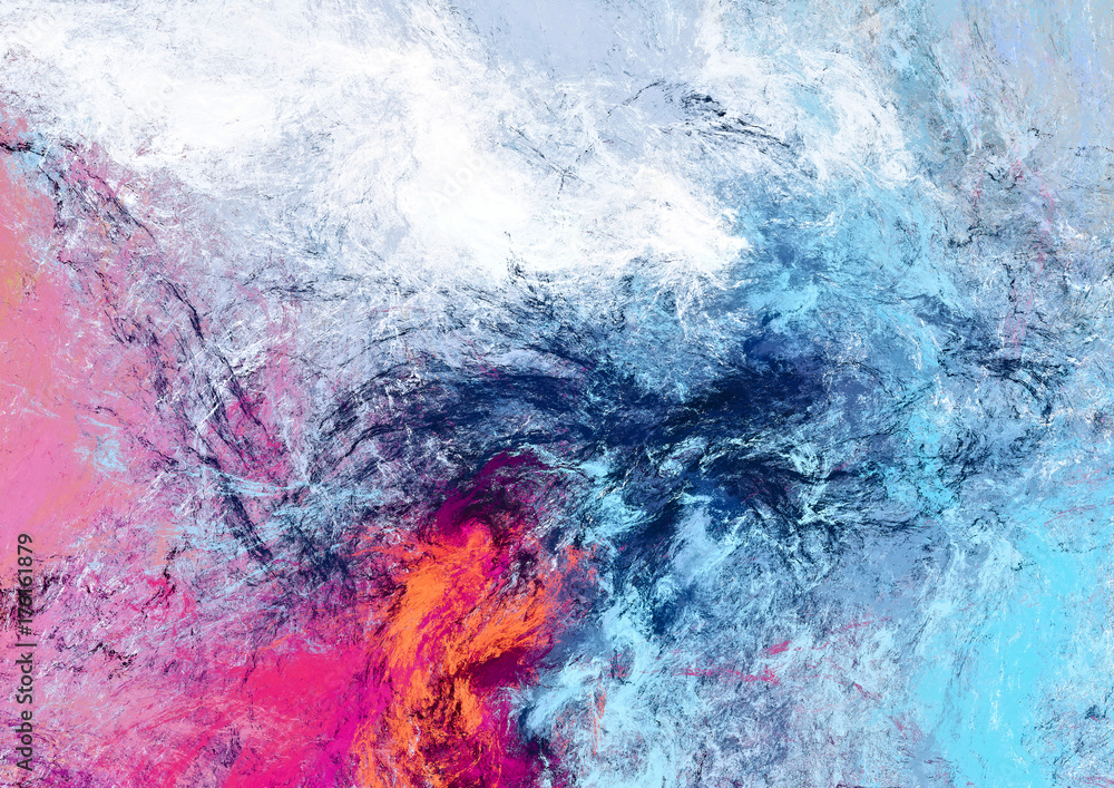 Fototapety, obrazy: Bright futuristic clouds. Color artistic splashes. Abstract beautiful painting texture. Modern cloudy background.  Fractal artwork for creative graphic design.