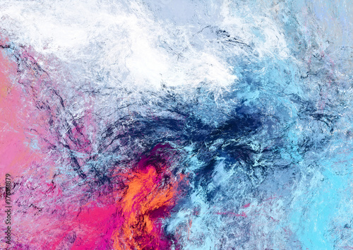 Obraz Bright futuristic clouds. Color artistic splashes. Abstract beautiful painting texture. Modern cloudy background. Fractal artwork for creative graphic design. - fototapety do salonu