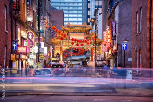 Fototapeta Dzielnica Chinatown, Manchester, UK wieczorem