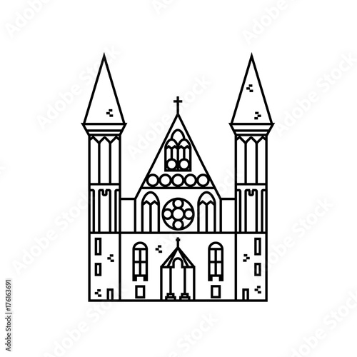 Gothic church flat line icon on isolated background  Vector