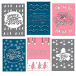 Happy New Year greeting cards. Set with lettering and hand drawn pattern elements.