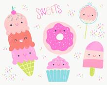 Sweet Desserts Vector Illustra...