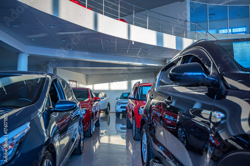 Obraz na plátne New cars at dealer showroom