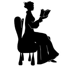 Freehand Reading Woman Silhoue...