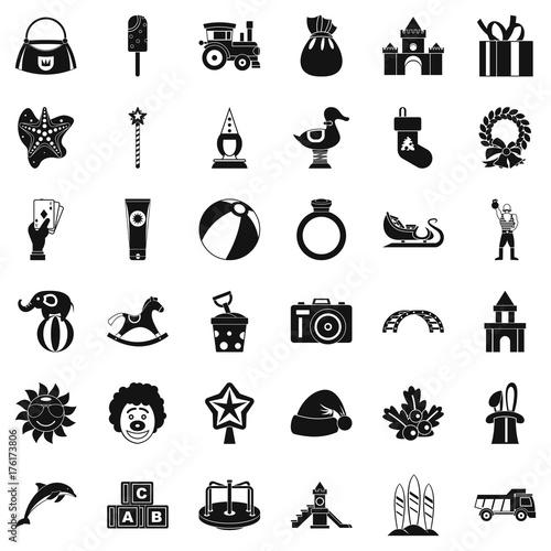 Fototapeta Toy icons set, simple style obraz na płótnie