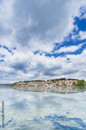 City on the water Macedonia - Ohrid old town with lake reflection, vertical background