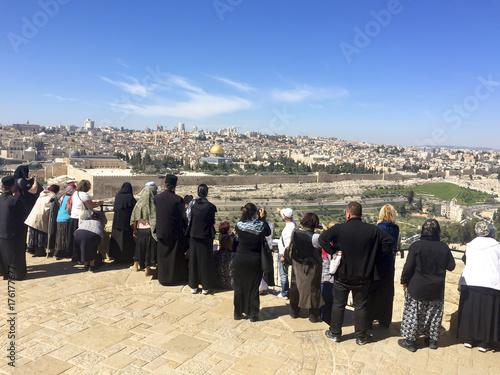 Zdjęcie XXL JEROZOLIMA, IZRAEL - 29 FEB, 2016: Panoramiczny widok Jerozolima od Oliwnej góry