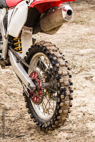 Fotografie, Obraz  Rear wheel of a sports motorcycle close-up