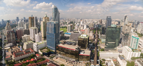 Fototapety, obrazy: Aerial Panorama Of Skyscrapers In Central Shopping District, Bangkok, Thailand