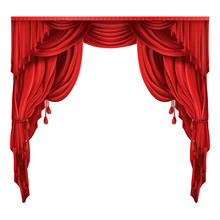 Heavy Red Curtains Or Drapes I...