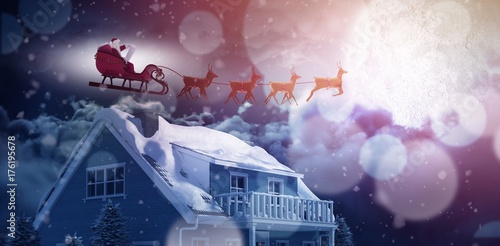 Composite image of side view of santa claus riding on sleigh Plakat