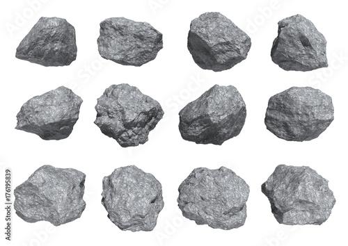 Obraz rocks set isolated on white background. - fototapety do salonu
