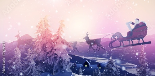 Spoed Foto op Canvas Wit Composite image of side view of santa claus riding on sleigh