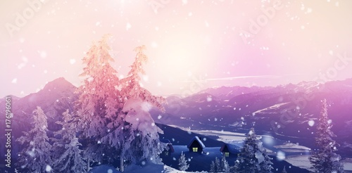 Spoed Foto op Canvas Wit View of landscape during snowfall