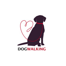 Dog Walking Logo Template With...