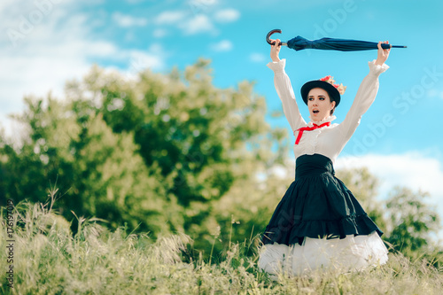 Fotografie, Obraz Retro Woman in Vintage Costume Fantasy Portrait Outdoors