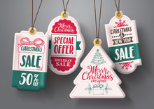 Christmas Hanging Sale Tags Ve...