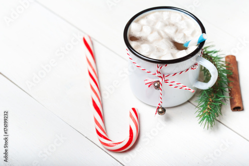 Spoed Foto op Canvas Chocolade Christmas Card with vintage mug, hot cocoa, marshmallow with xmas holiday decorations