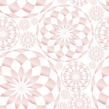 Abstract Geometric Kaleidoscope Seamless Pattern Texture. Pink Gradient Round Circle. Lotus Flower. Random Concentric Adjacent Fractal Symmetric. Vector Design Illustration.