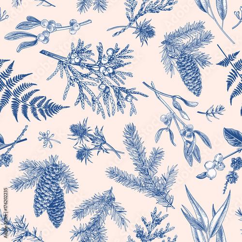 Stoffe zum Nähen Botanische Musterdesign Weihnachten.