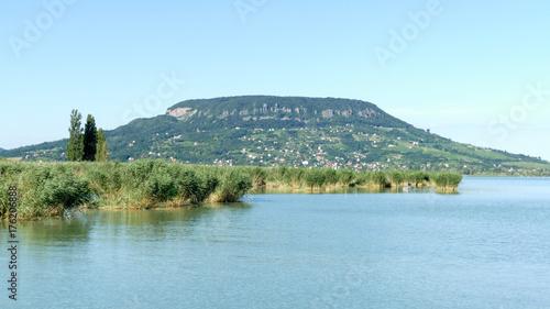 Photo  Volcanic hill Badacsony viewed from lake Balaton in Hungary