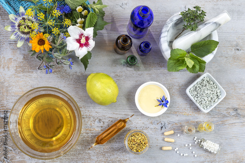 Fototapeta white mortar with herbs and . fresh medicinal plants and Preparing medicinal plants for phytotherapyand health beauty obraz na płótnie