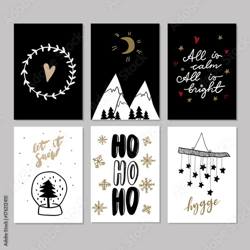Mountain Christmas Cards.Set Of Doodle Christmas Greeting Cards Vector Hand Drawn