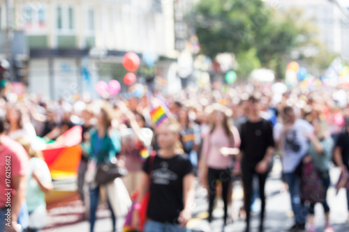 Fotomural Blurred picture of participants of LGBT parade. Gay pride.