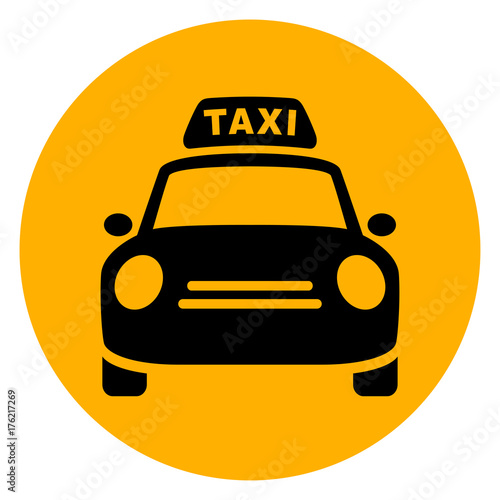 Fotografering taxi circle yellow icon